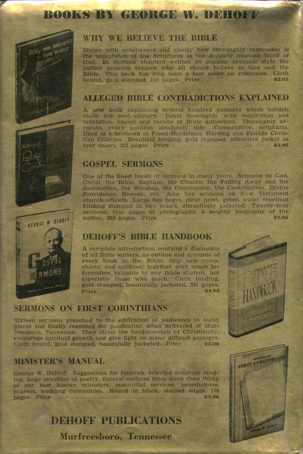 why we believe the bible by george washington dehoff